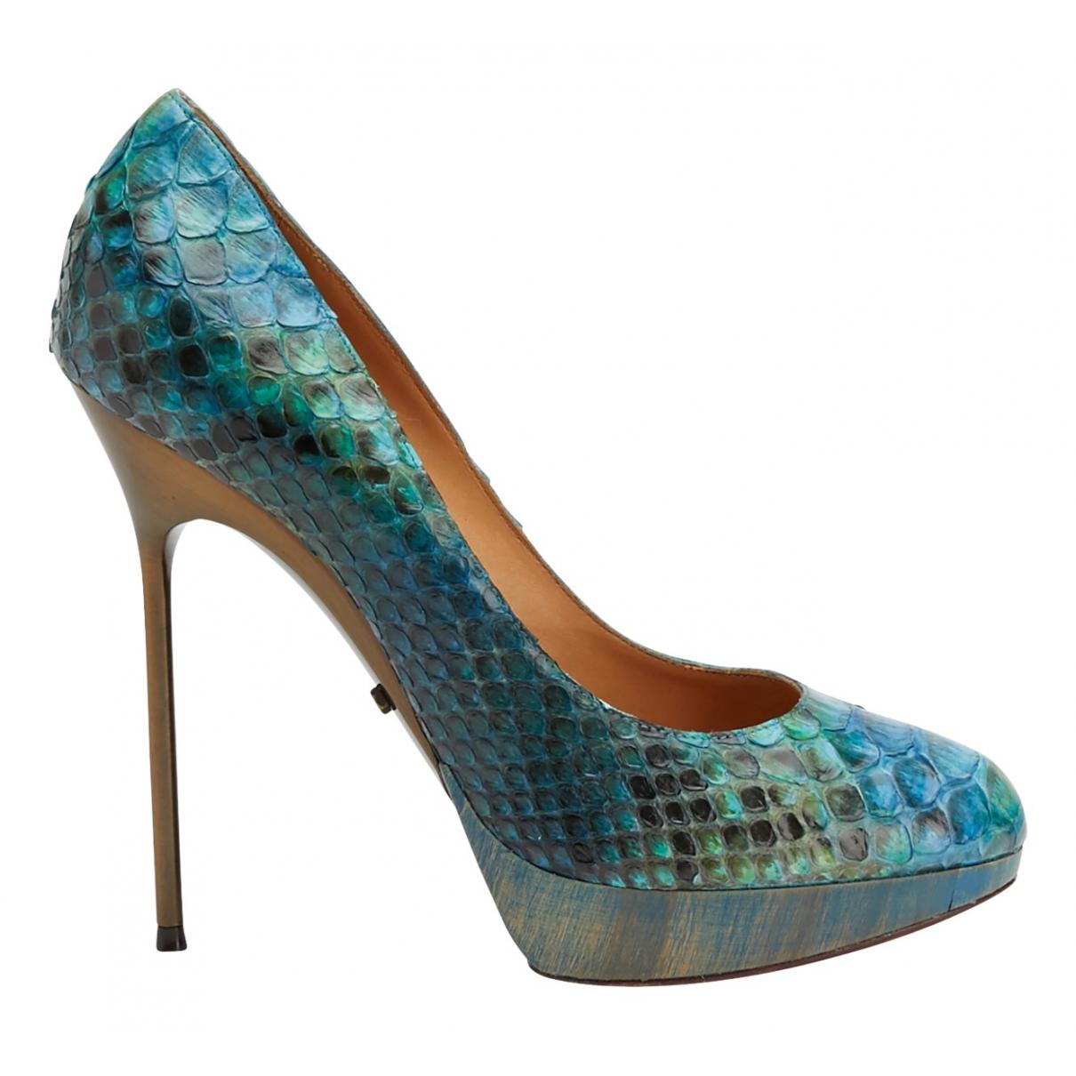 Lanvin - Escarpins   pour femme en python - bleu
