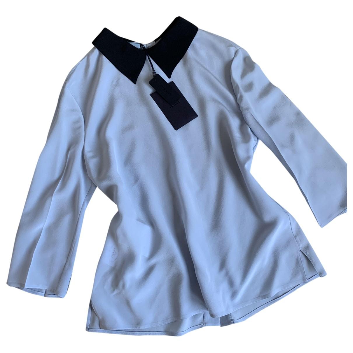 Prada - Top   pour femme en soie - bleu