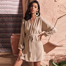 Batwing Sleeve Wrap Belted Dress