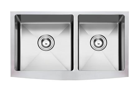 NW-3621D Apron/Farmhouse Stainless Steel 36 in. Double Bowl Kitchen Sink in Stainless