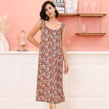 All Over Print Ruffle Straps Night Dress