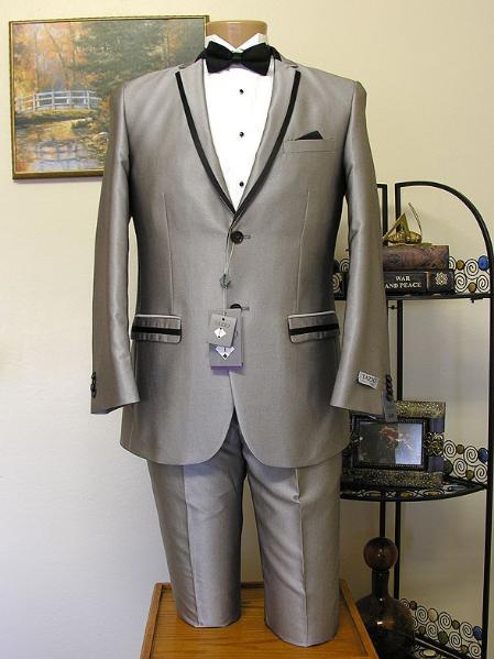 Grey Slim Cut 2 Button Trimmed LapelTuxedo jacket and Pant Combination