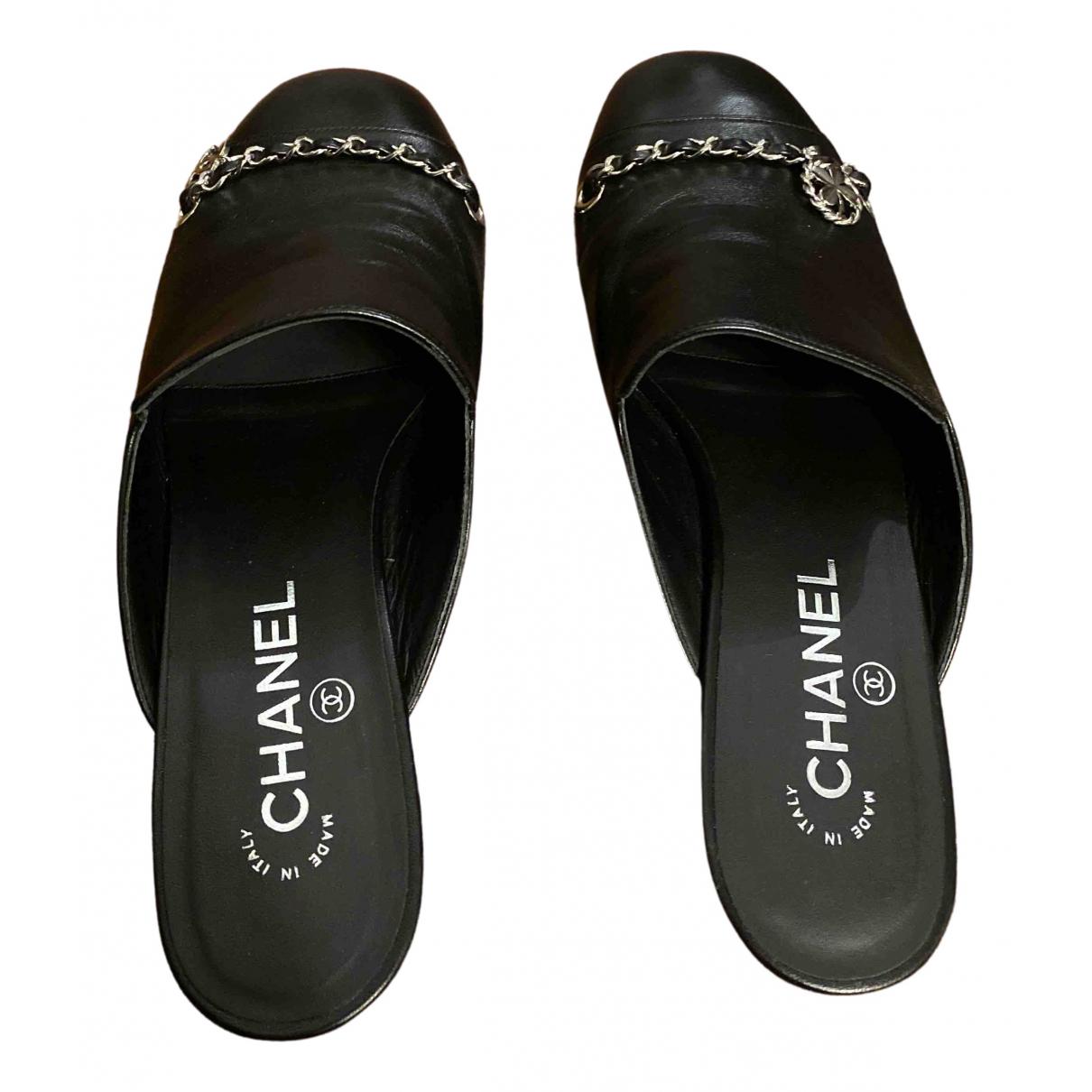 Chanel N Black Leather Sandals for Women 38 EU