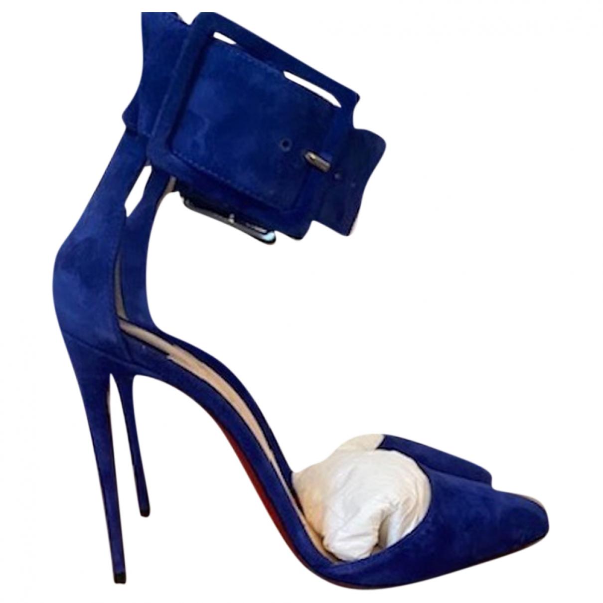 Christian Louboutin \N Blue Suede Heels for Women 37 EU