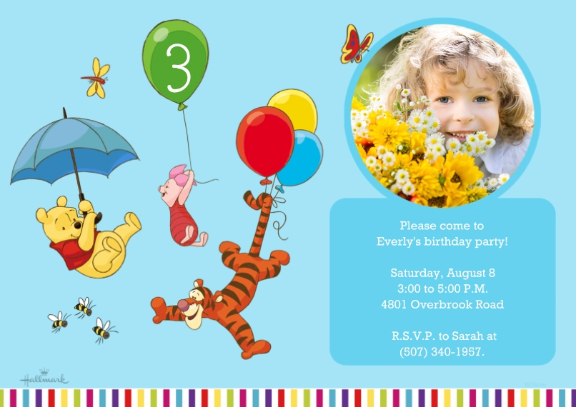 Kids Birthday Party Invites Flat Glossy Photo Paper Cards with Envelopes, 5x7, Card & Stationery -Winnie the Pooh Birthday Friends
