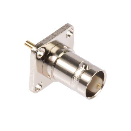 RS PRO Straight 50Ω Flange MountBulkhead Fitting BNC Connector, jack, Nickel, Solder Termination