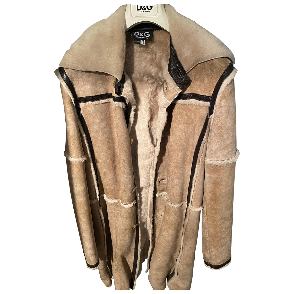 D&g \N Beige Suede Leather jacket for Women 48 IT