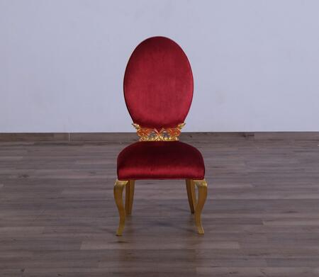 Luxor Collection Dining Chair  Hand Made & Hand Carved into Mahogany Wood Solid  in Red Burgundy and Gold