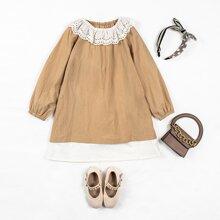 Toddler Girls Contrast Schiffy Trim  Dress