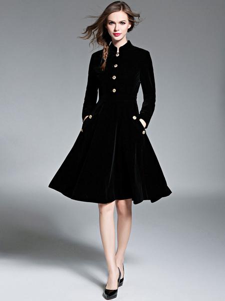 Milanoo Women Flared Coat Black Velour Vintage Long Sleeve Stand Collar Button Winter Coat