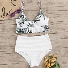 Bikini mit Blumen Muster, Raffungsaum, Ruesche und hoher Taille