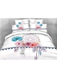 Vivilinen 3D Dreamcatcher with Daisy Printed 4-Piece White Bedding Sets/Duvet Covers