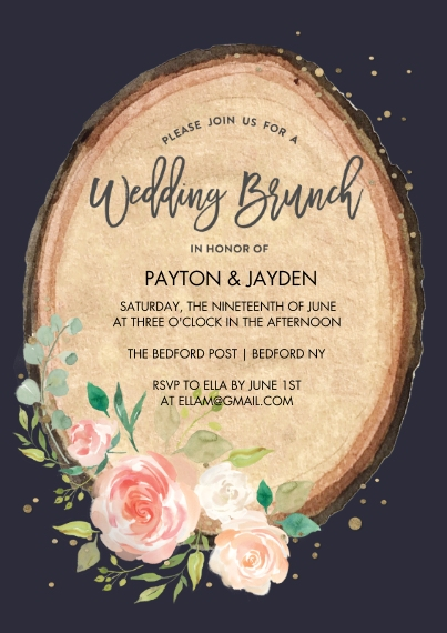 Wedding Shower Invitations 5x7 Cards, Premium Cardstock 120lb with Scalloped Corners, Card & Stationery -Wedding Brunch Wood Cut