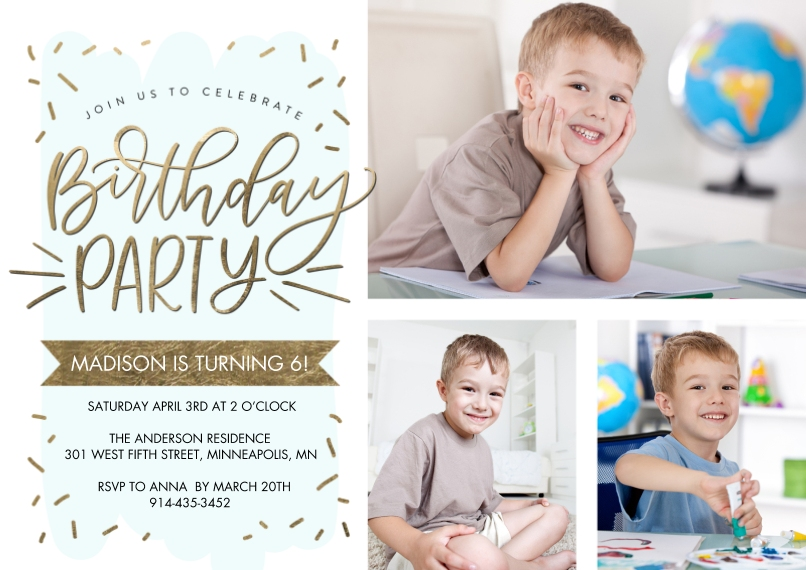 Kids Birthday Party 5x7 Cards, Standard Cardstock 85lb, Card & Stationery -Birthday Party Gold Script by Tumbalina