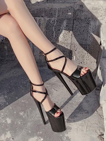 Milanoo Sandalias sexy para mujer Albaricoque Cuero de PU Punta abierta Criss Cross Sky High Platform Zapatos sexy