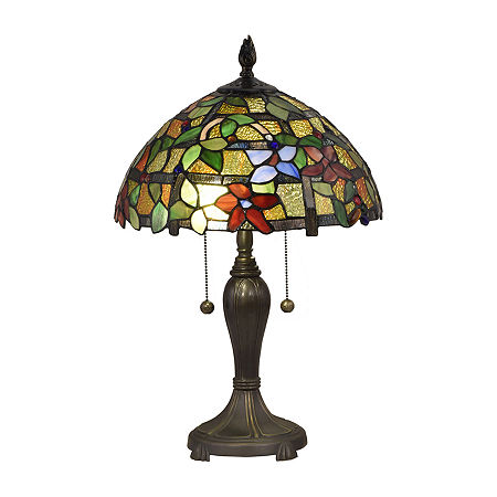 Dale Tiffany Bellevue Floral Glass Table Lamp, One Size , Multiple Colors