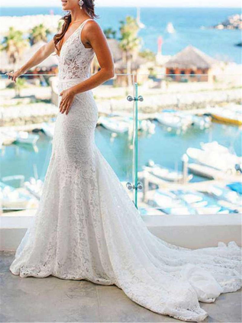 Ericdress Court Train Mermaid Lace Wedding Dress