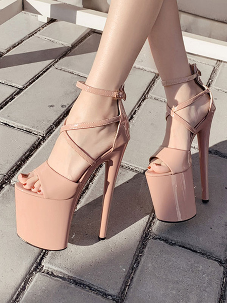 Milanoo Sexy Sandals For Woman Apricot PU Leather Open Toe Criss Cross Sky High Platform Sexy Shoes