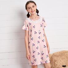 Girls Cherry Print Eyelet Embroidered Night Dress