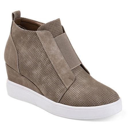 Journee Collection Womens Clara Wedge Sneaker, 11 Medium, Beige