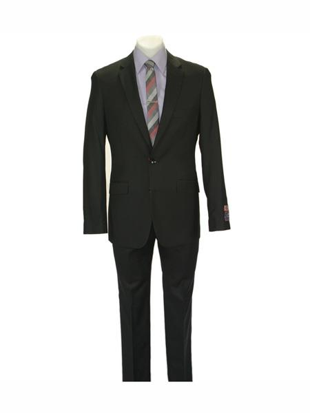 Carlo Lusso mens 2 button fully lined notch slim fit Black suit