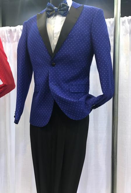 Mens Vittorio St Angelo Peak Lapel Dotted Pattern Navy Suit
