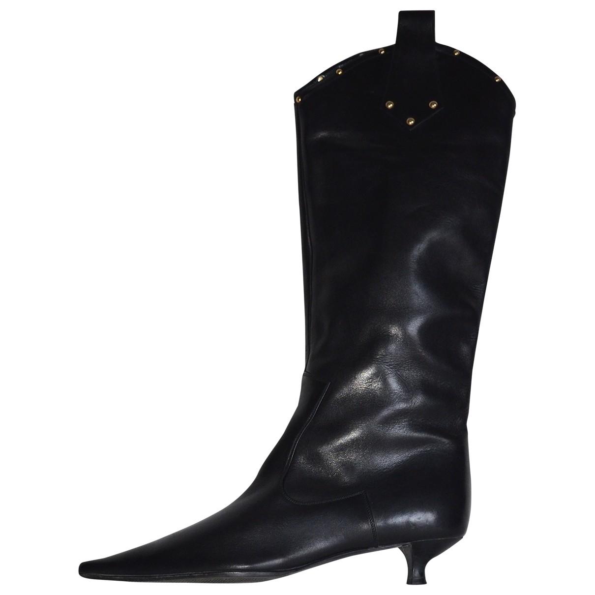 Sergio Rossi \N Stiefel in  Schwarz Leder