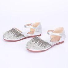 Zapatos de niñitas con tira de velcro con diseño de diamante de imitacion