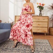 Maternity Ruffle Hem Tie Dye Maxi Cami Dress