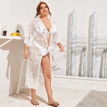 Plus Embroidery Knotted Sheer Lace Kimono Without Lingerie