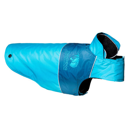 The Pet Life Touchdog Lightening-Shield Waterproof 2-in-1 Convertible Dog Jacket w/ Blackshark technology, One Size , Blue