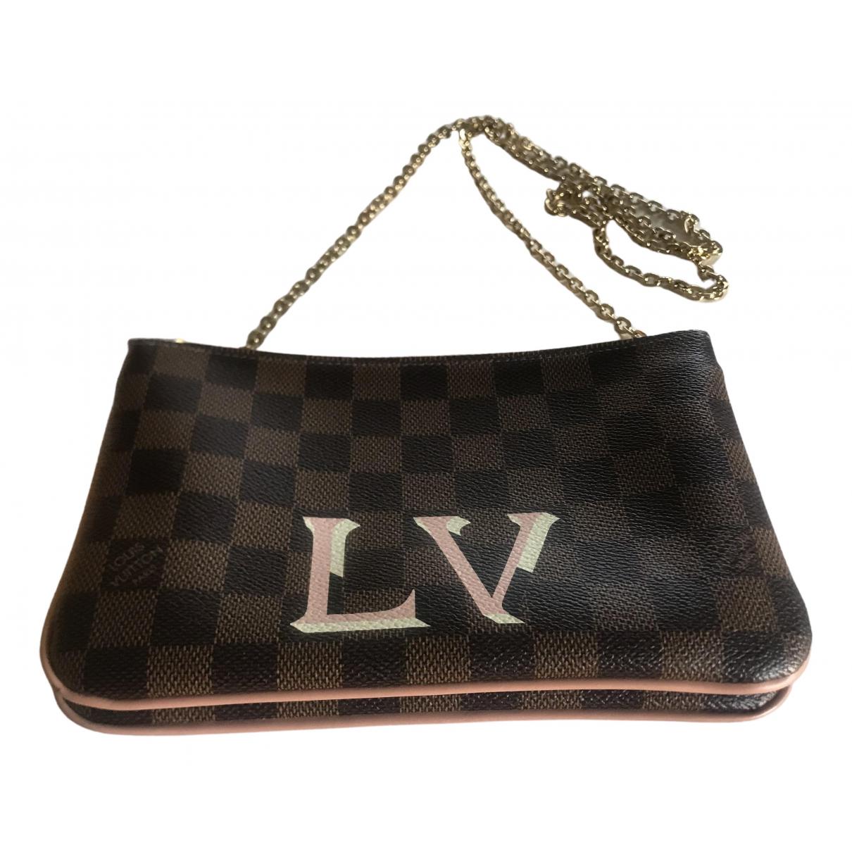 Louis Vuitton Double zip Clutch in  Braun Leinen
