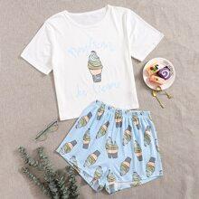 Schlafanzug Set mit Eis & Buchstaben Grafik