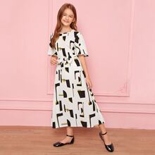 Girls Geo Print Belted Dress Without Bag