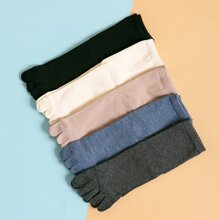 5pairs Men Plain Toe Socks