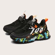 Strick Sneakers mit Farbblock & Buchstaben Grafik