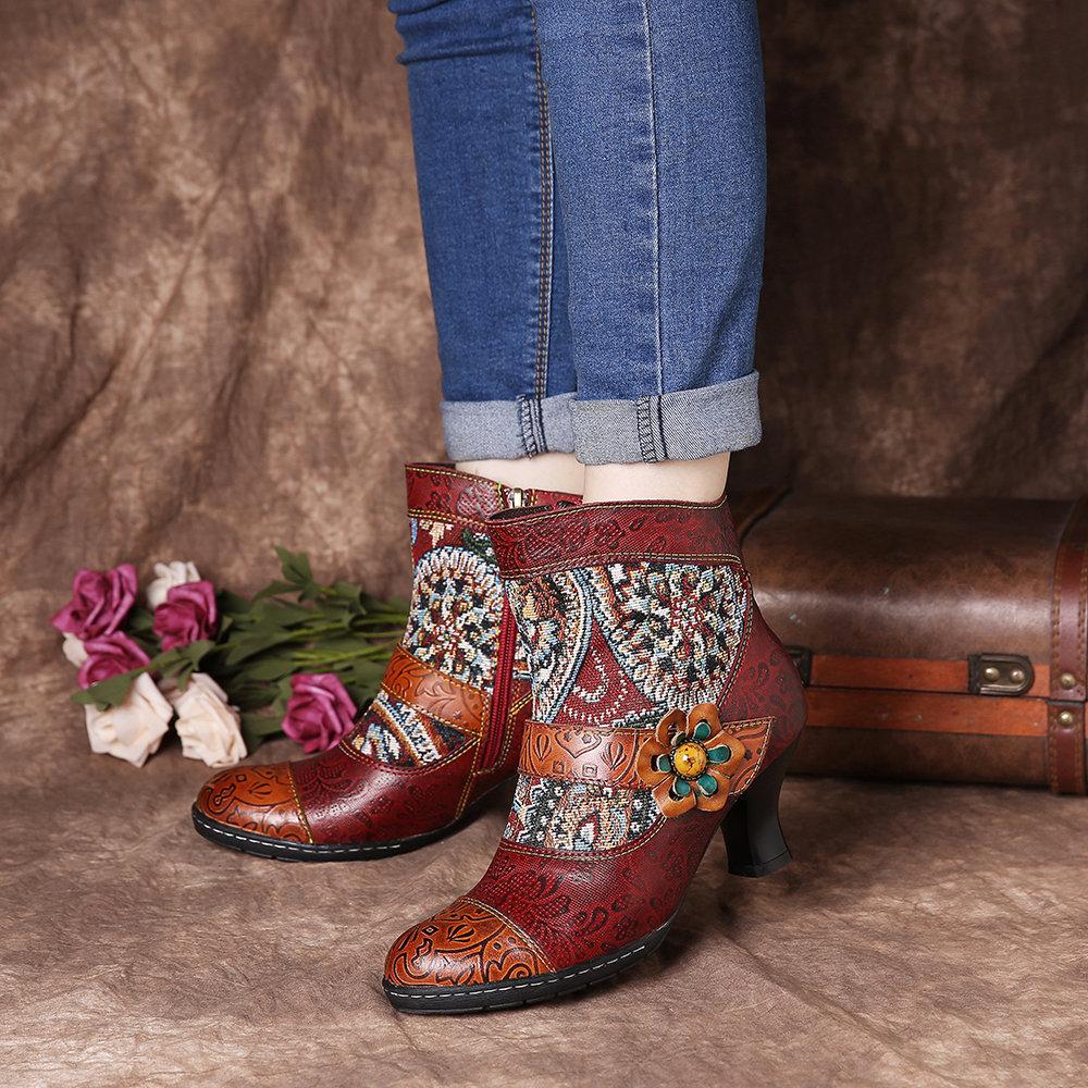 SOCOFY Retro Folkways Pattern Embossed Genuine Leather Splicing Low Heel Ankle Boots