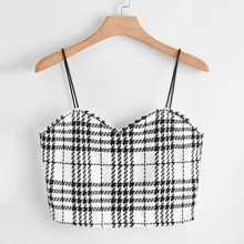 Plus Sweetheart Neck Plaid Crop Cami Top