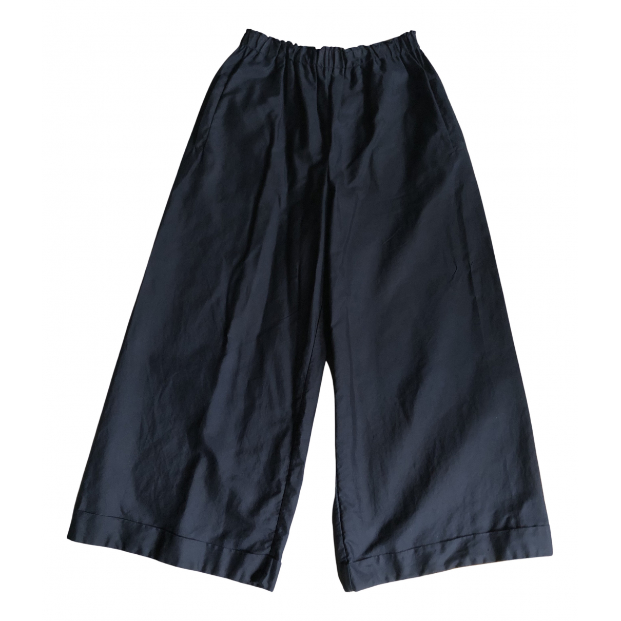 Non Signé / Unsigned N Navy Cotton Trousers for Women 38 FR