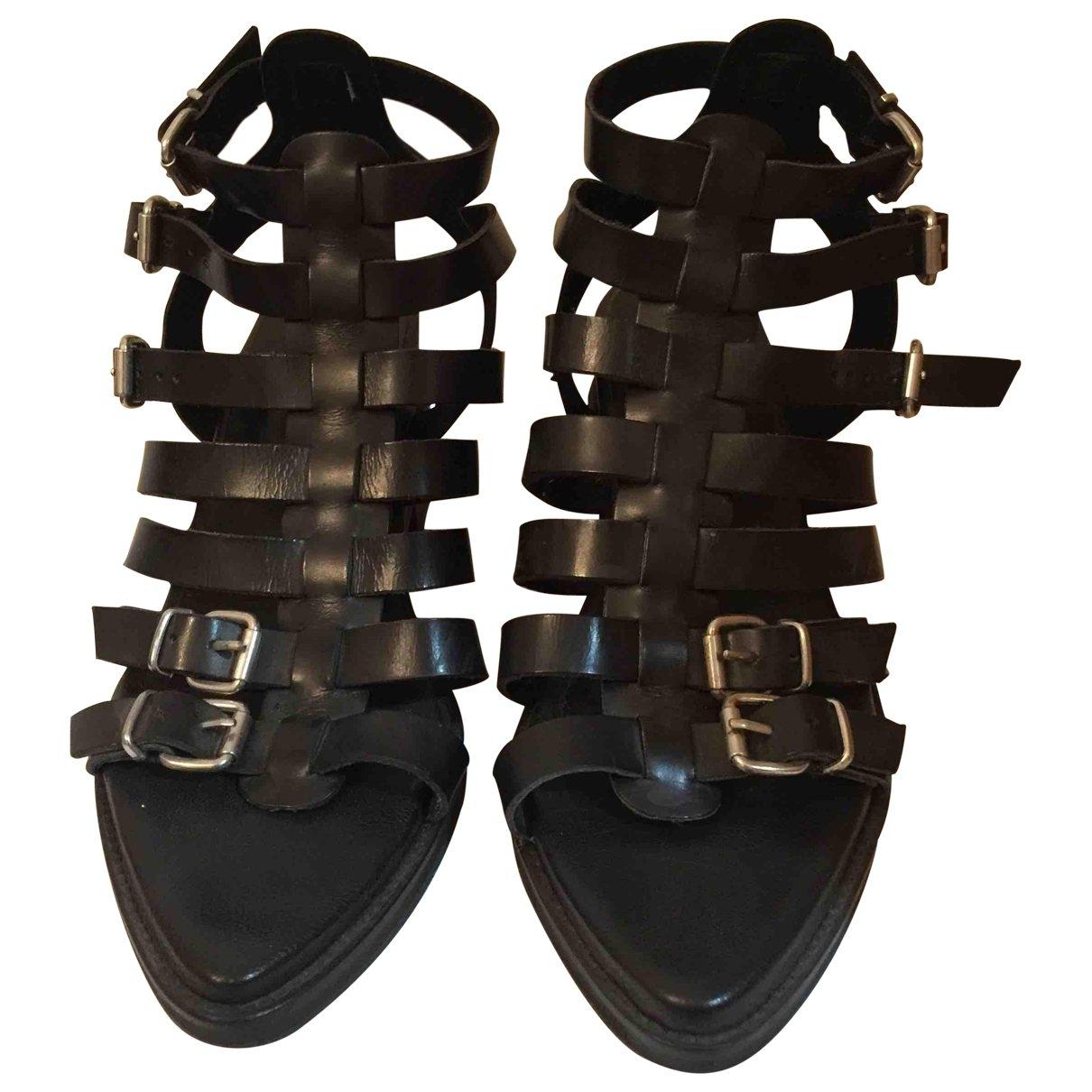 tophop \N Black Leather Sandals for Women 41 EU
