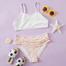 Gerippter Bikini Badeanzug mit Bluemchen Muster und Ruesche