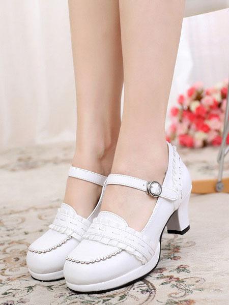 Milanoo Classic Lolita Footwear Ruffle PU Chunky Heel Deep Blue Lolita Shoes
