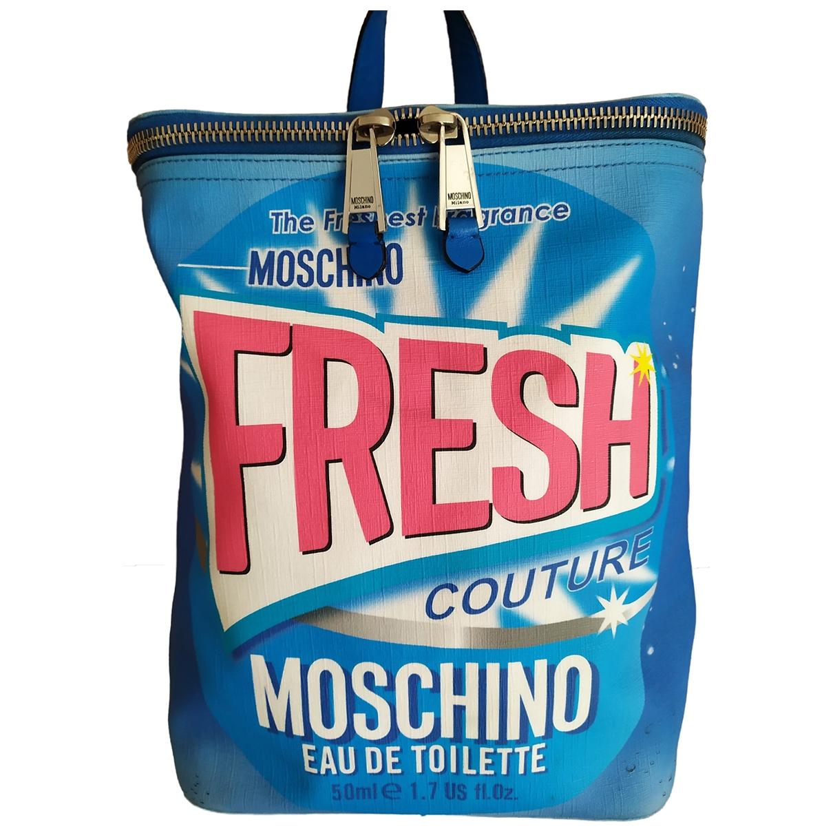 Moschino - Sac a dos   pour femme en toile - bleu