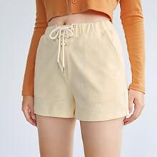 Shorts con bolsillo oblicuo de cintura con cordon