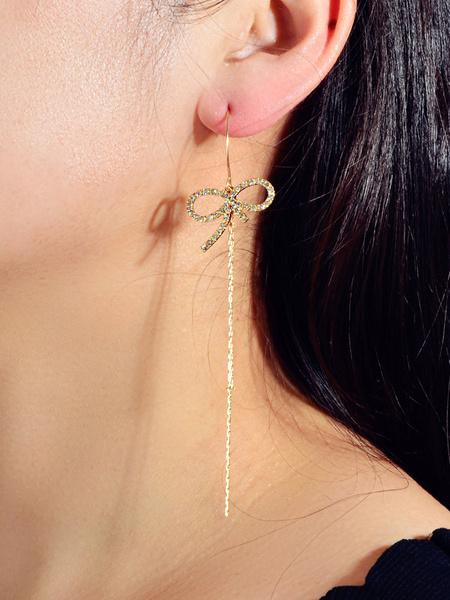 Milanoo Chain Earrings Gold Bows Women Jewelry Dangle Earrings