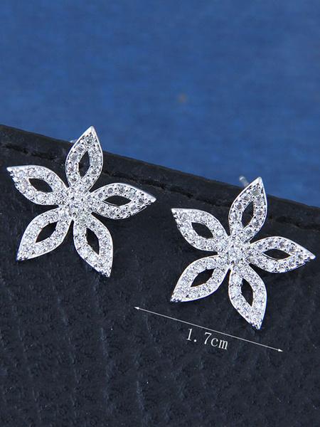 Milanoo Silver Wedding Earrings Flowers Women Cubic Zirconia Bridal Jewellery