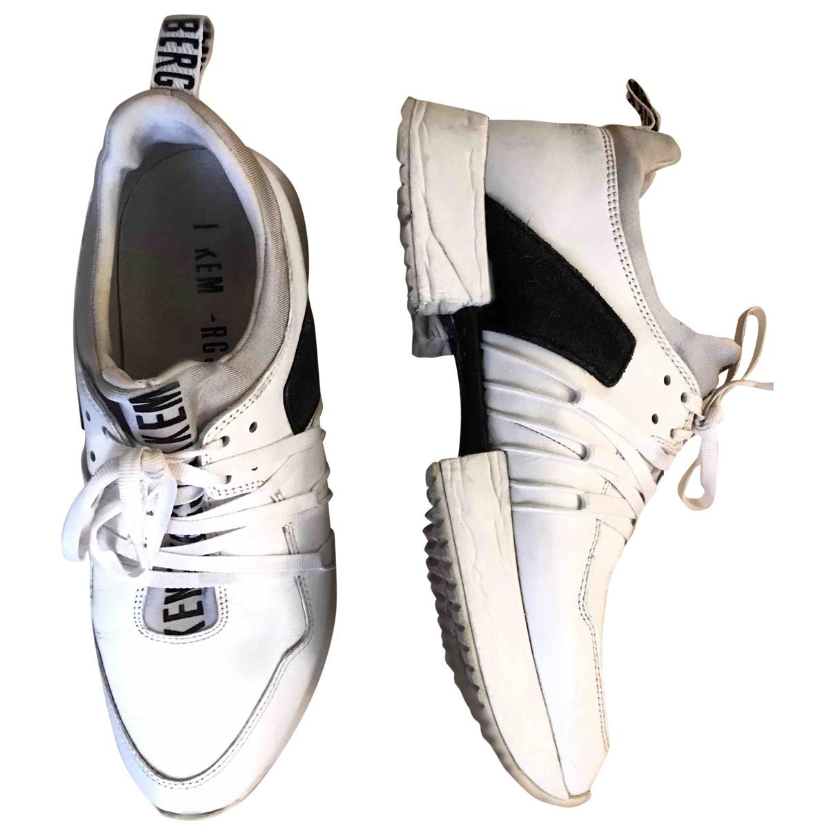 Dirk Bikkembergs \N White Leather Trainers for Women 38 EU