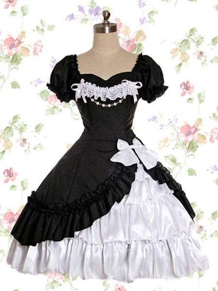 Milanoo Gothic Lolita OP Dress Lace Ruffle Bow Lolita One Piece Dress