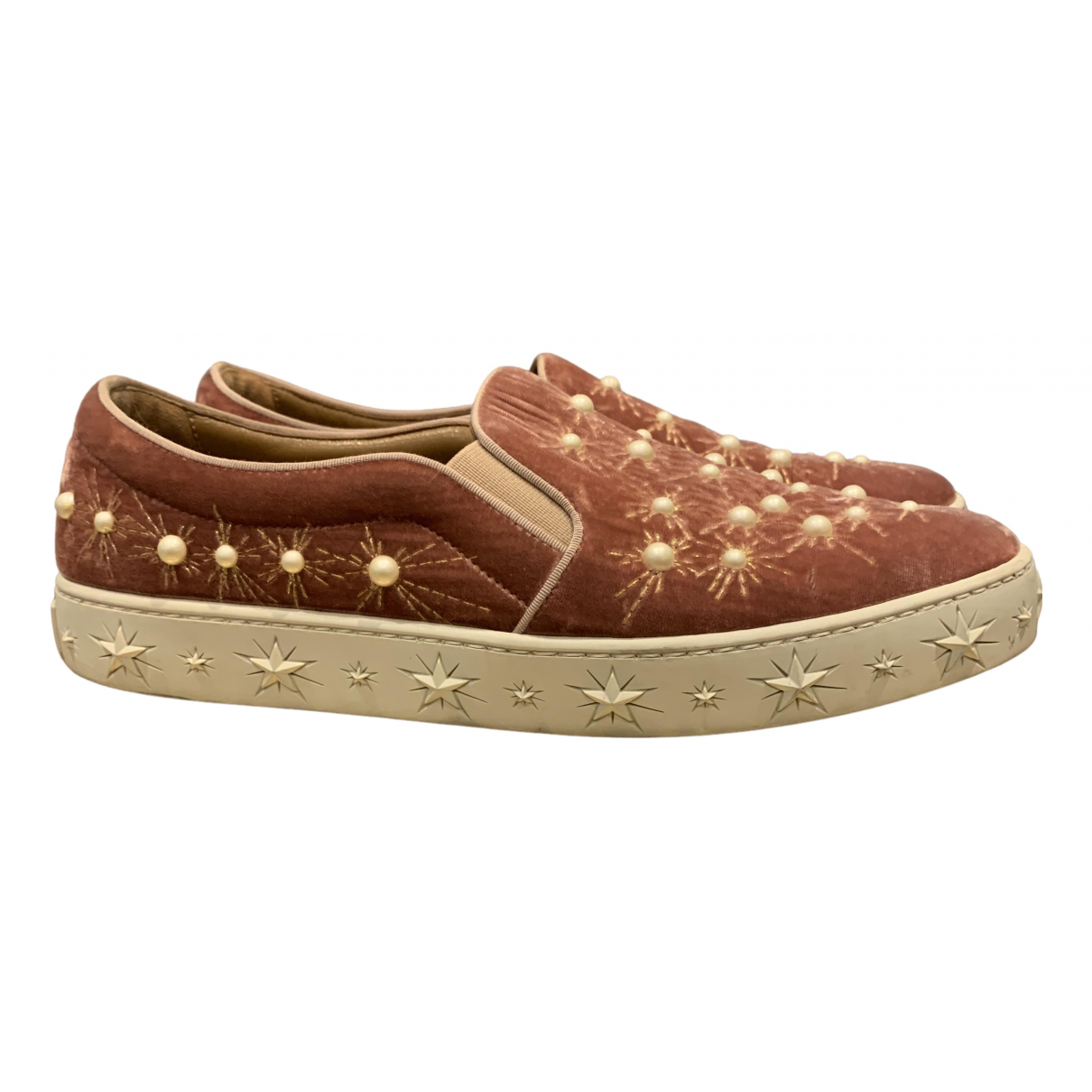 Aquazzura Cosmic Star Sneakers in  Rosa Samt