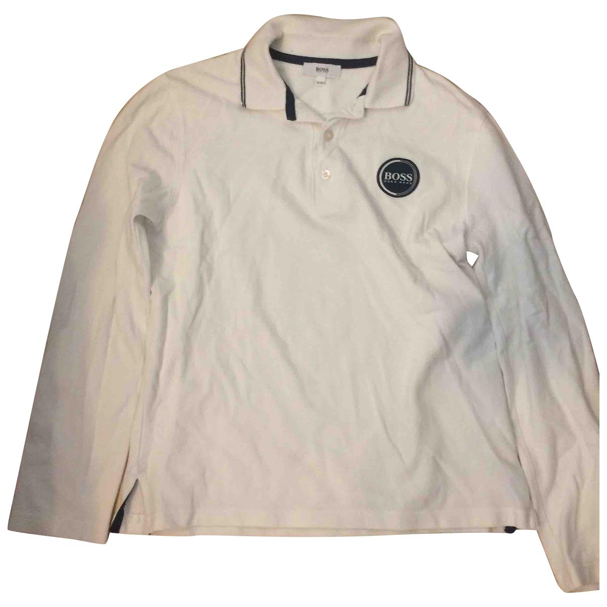 Boss - Pull   pour enfant en coton - blanc